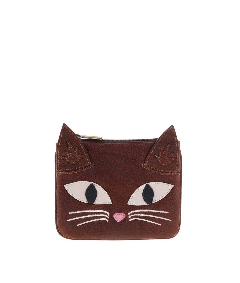 Hnědá kožená peněženka YOSHI Augustus The Cat