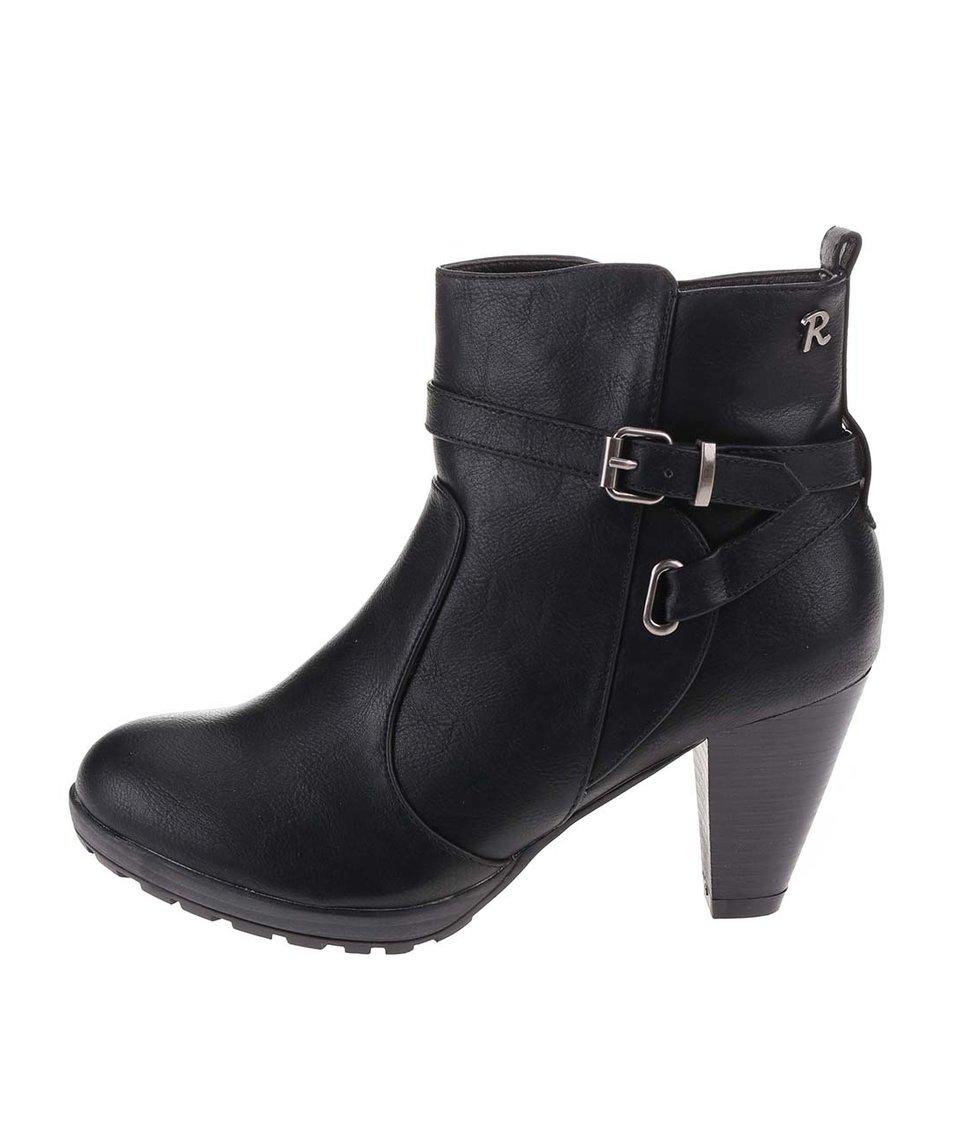 Černé kotníkové boty na podpatku Refresh