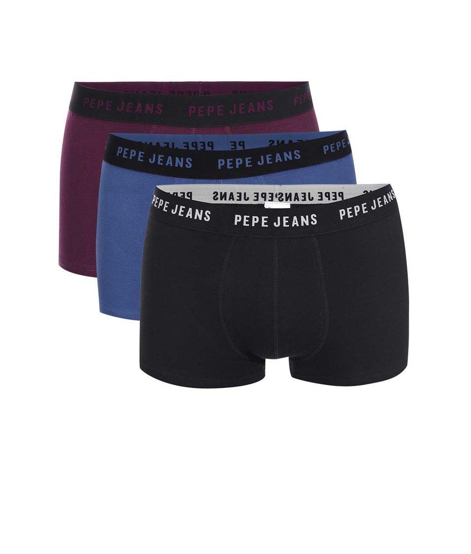 Sada modrých, fialových a černých boxerek Pepe Jeans Pinner