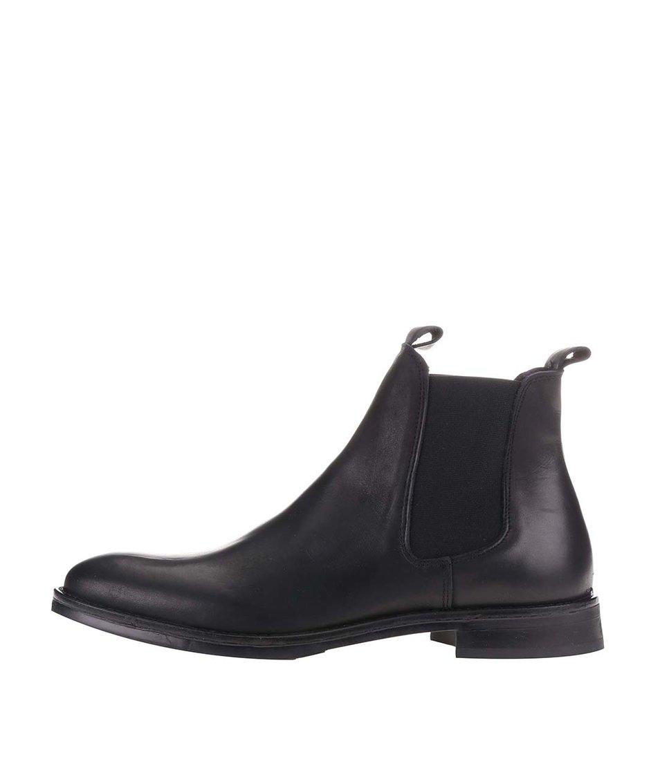 Černé kožené chelsea boty Selected Noos