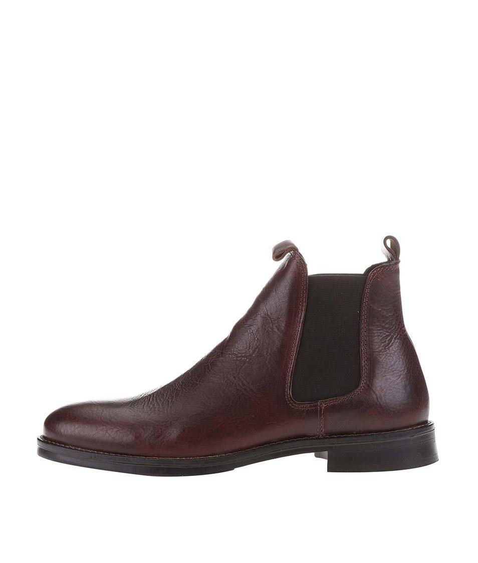 Hnědé kožené chelsea boty Selected Noos