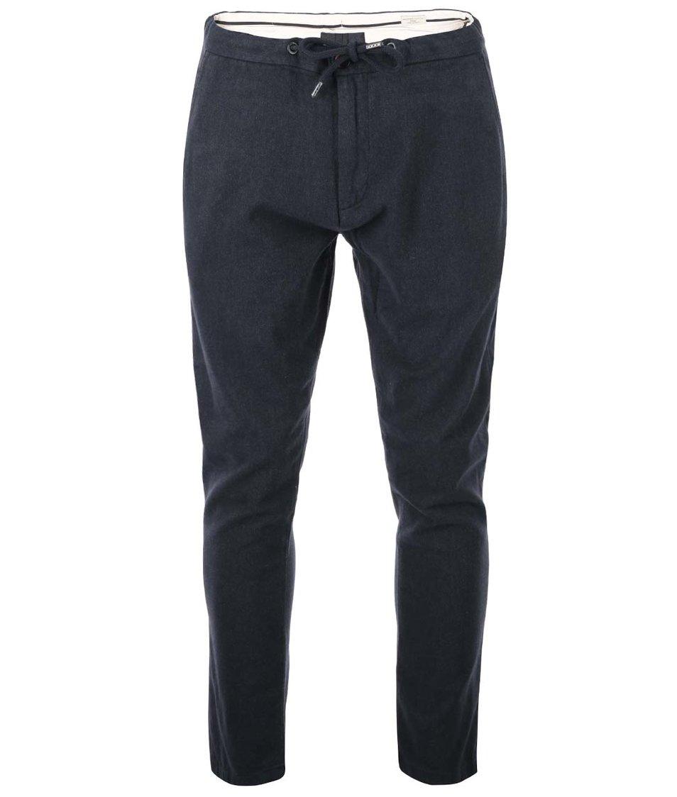Tmavé šedé bavlněné kalhoty Selected