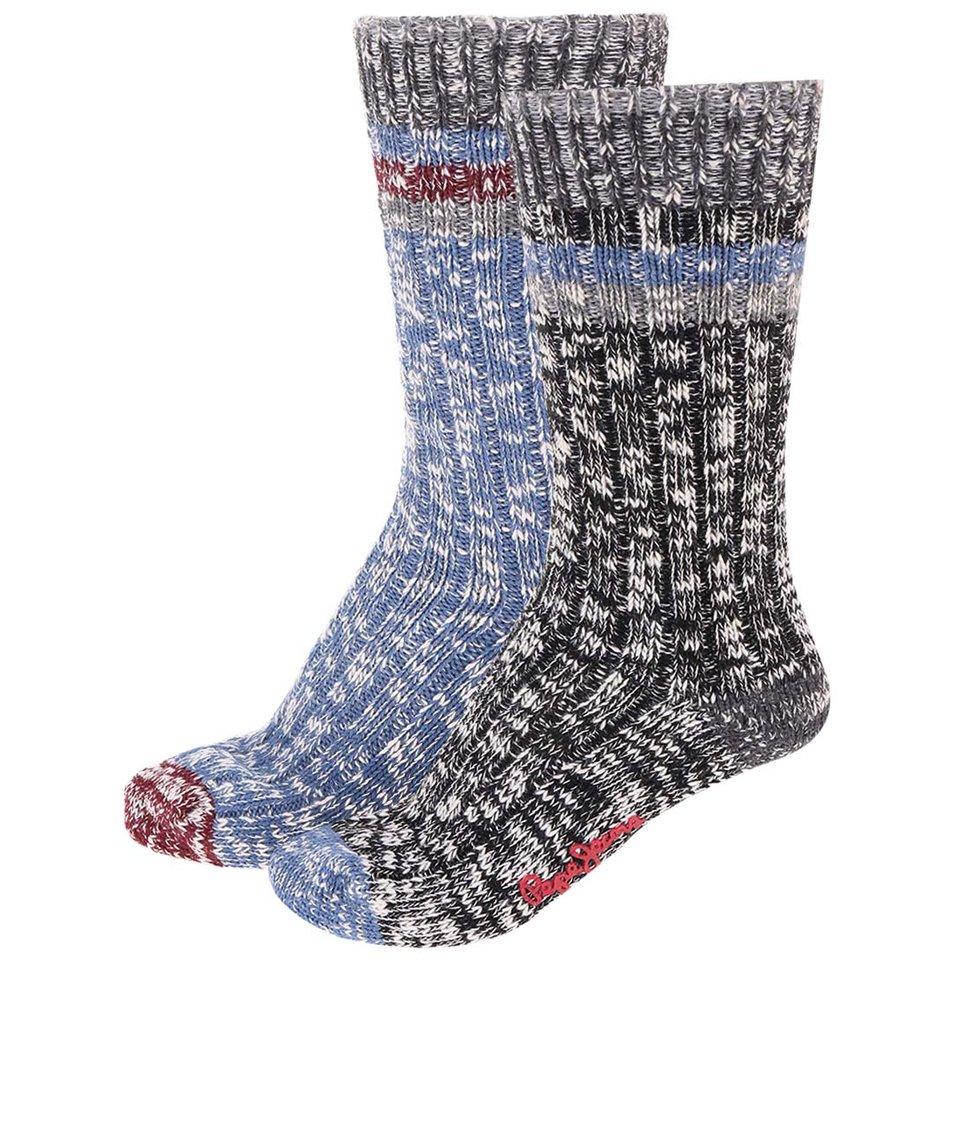 Sada dvou párů černo-modrých ponožek Pepe Jeans Hampton