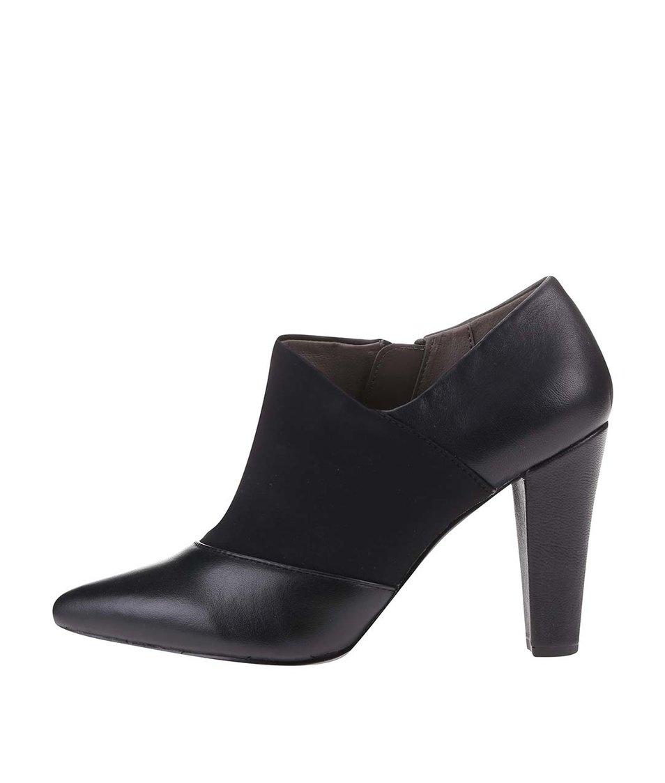Černé kožené boty na podpatku Bullboxer