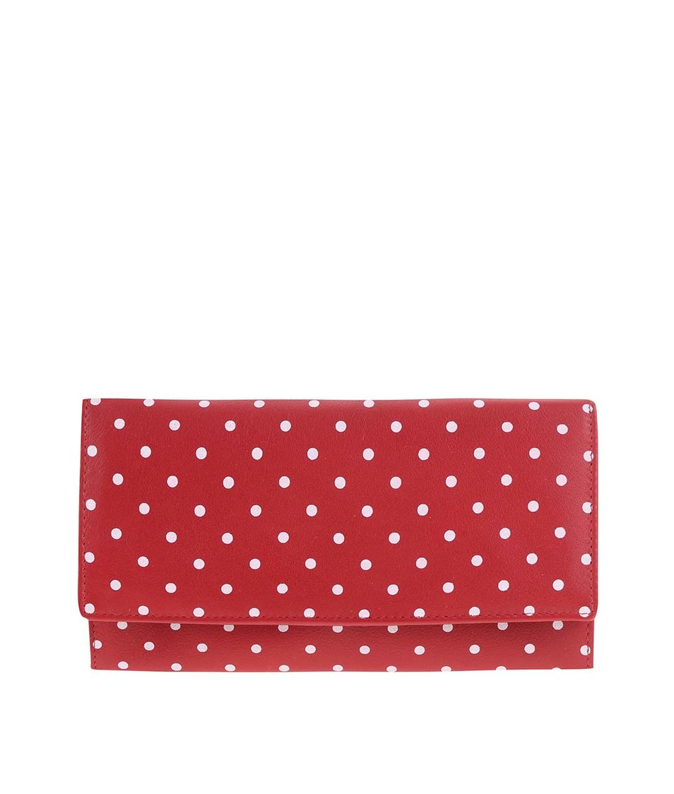Červená kožená peněženka s puntíky 1642