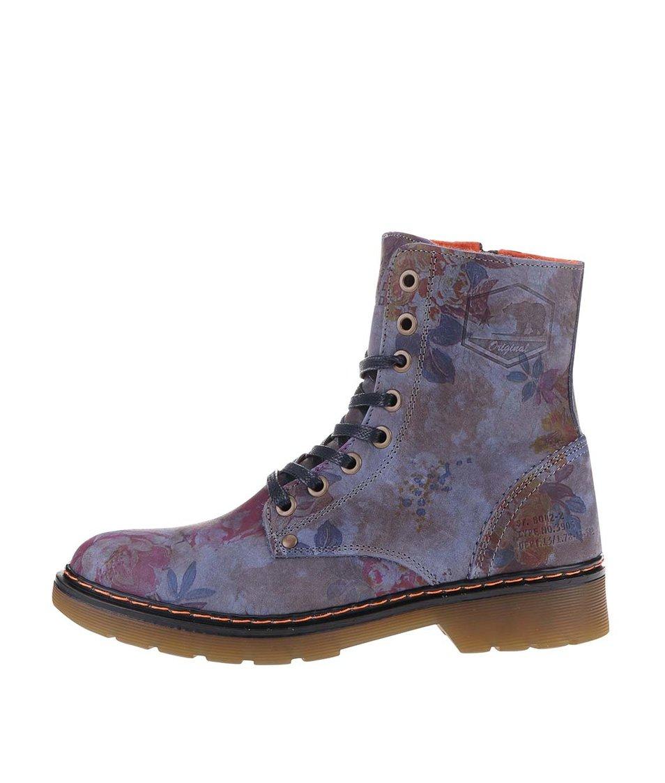 Modré dámské kožené květované boty Bullboxer