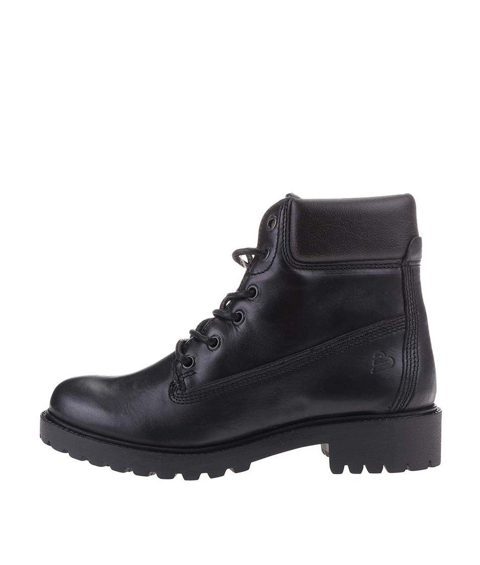 Černé dámské kožené šněrovací boty s vnitřní kožešinou Bullboxer