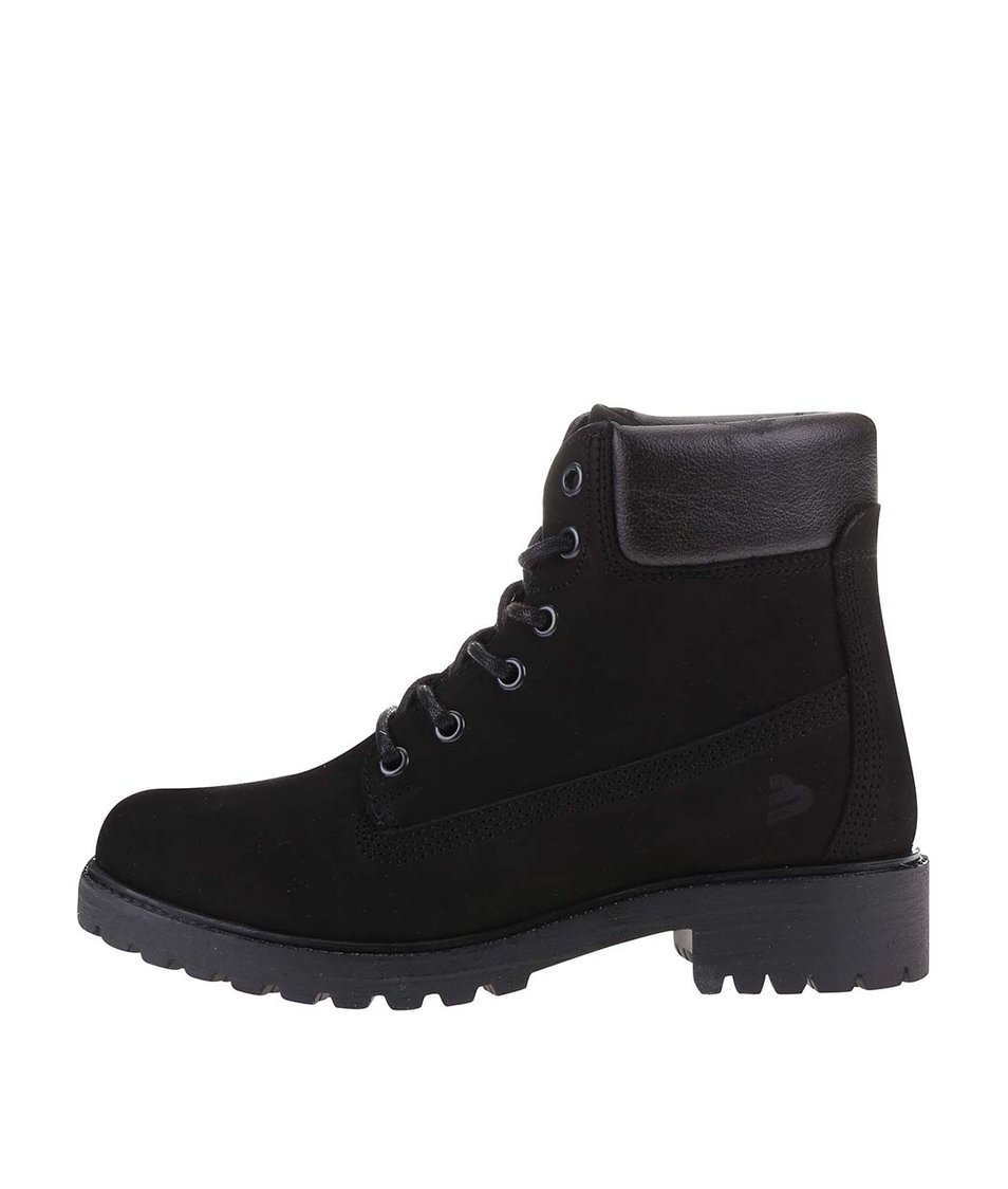 Černé dámské kožené boty na šněrování Bullboxer