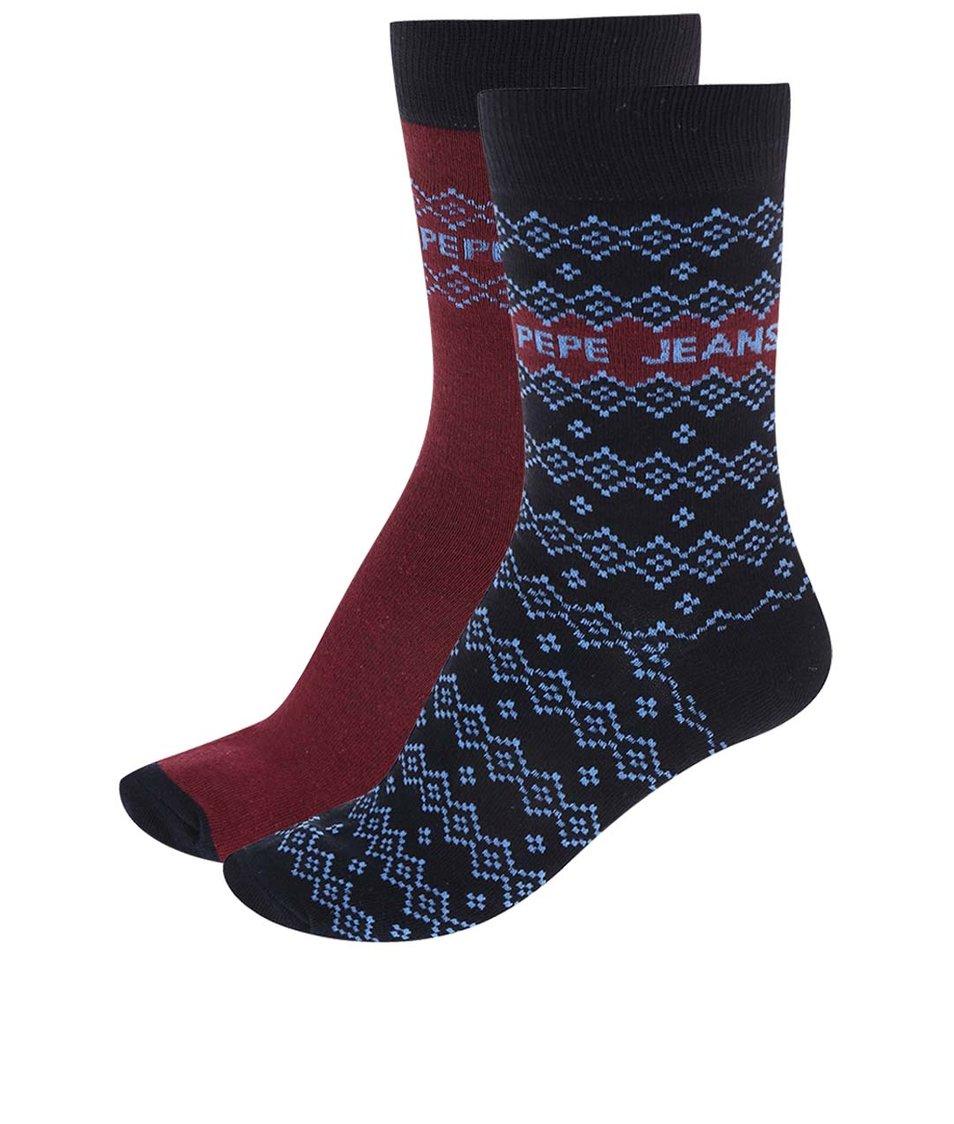 Sada dvou párů vínovo-modrých ponožek Pepe Jeans Bexley