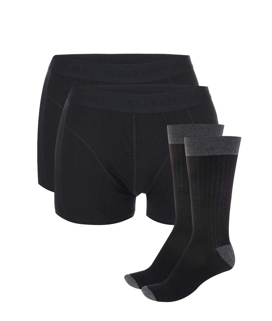 Sada dvou černých boxerek a dvou párů šedo-černých ponožek Selected Nilo