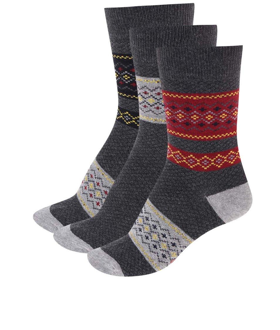 Sada tří párů červeno-šedých ponožek Pepe Jeans Croxley