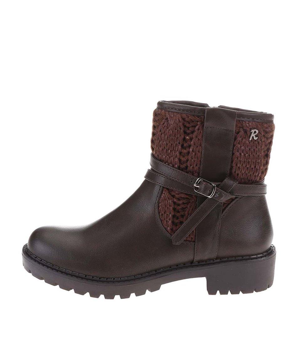 Tmavě hnědé kotníkové boty s páskem Refresh