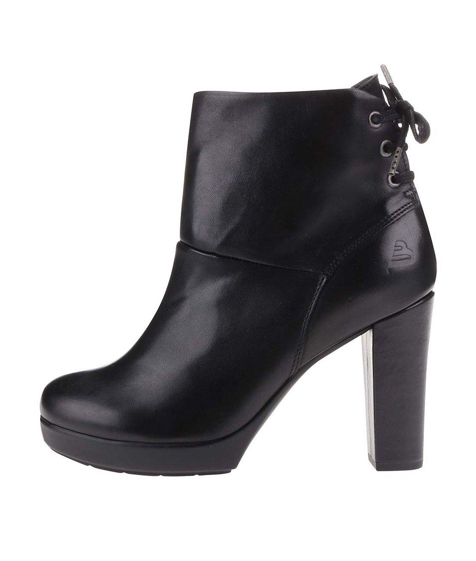 Černé kožené boty na podpatku se šněrováním Bullboxer