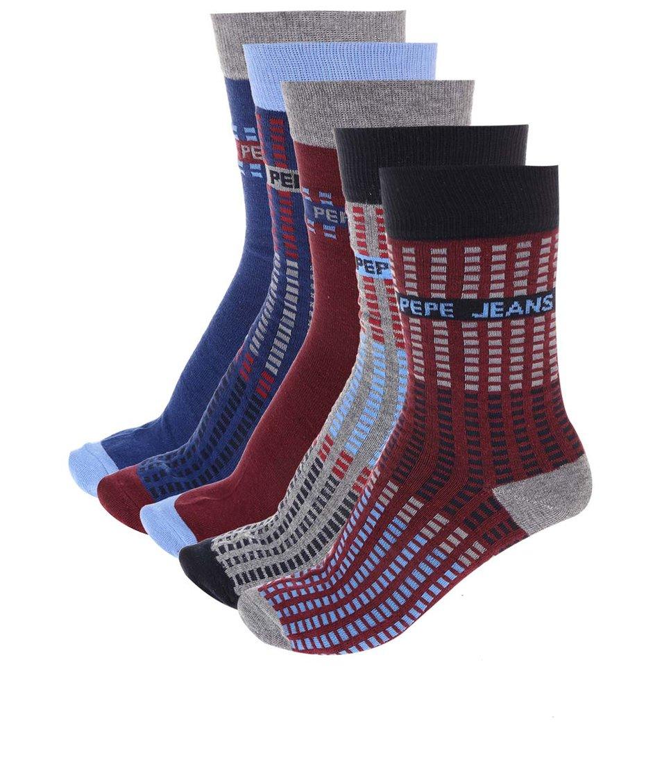 Sada pěti párů vínovo-modrých ponožek Pepe Jeans Romford