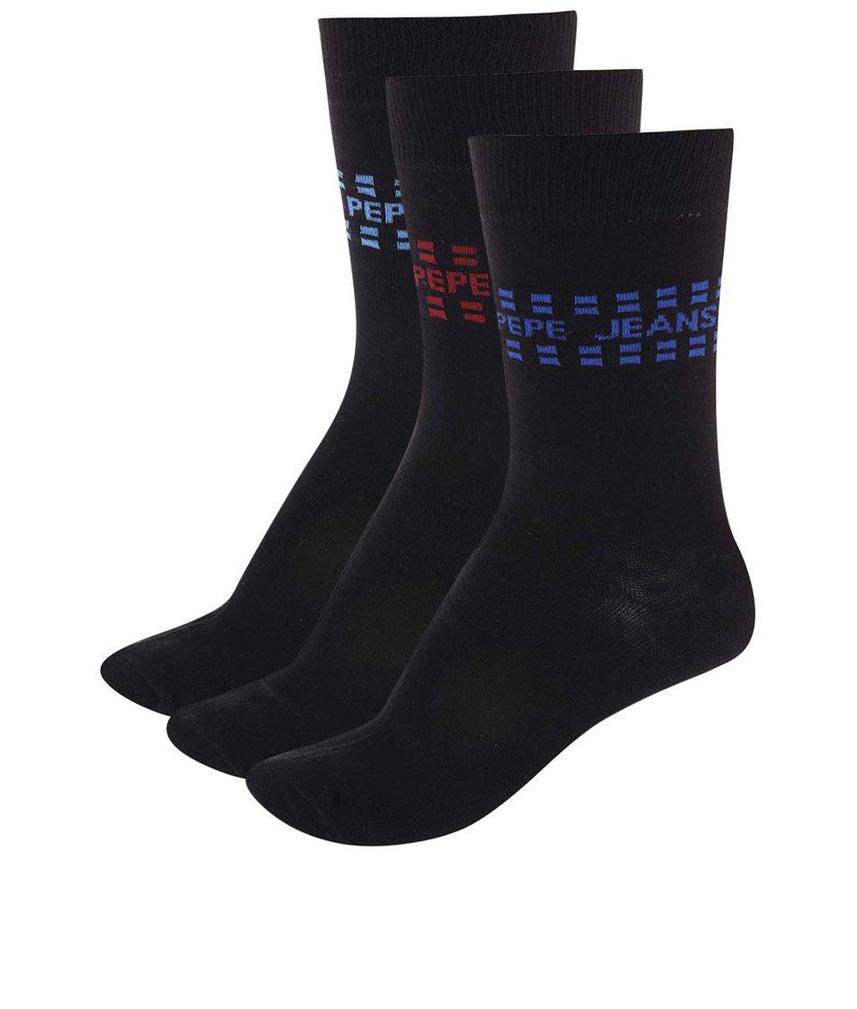 Sada tří párů černých ponožek Pepe Jeans Wapping