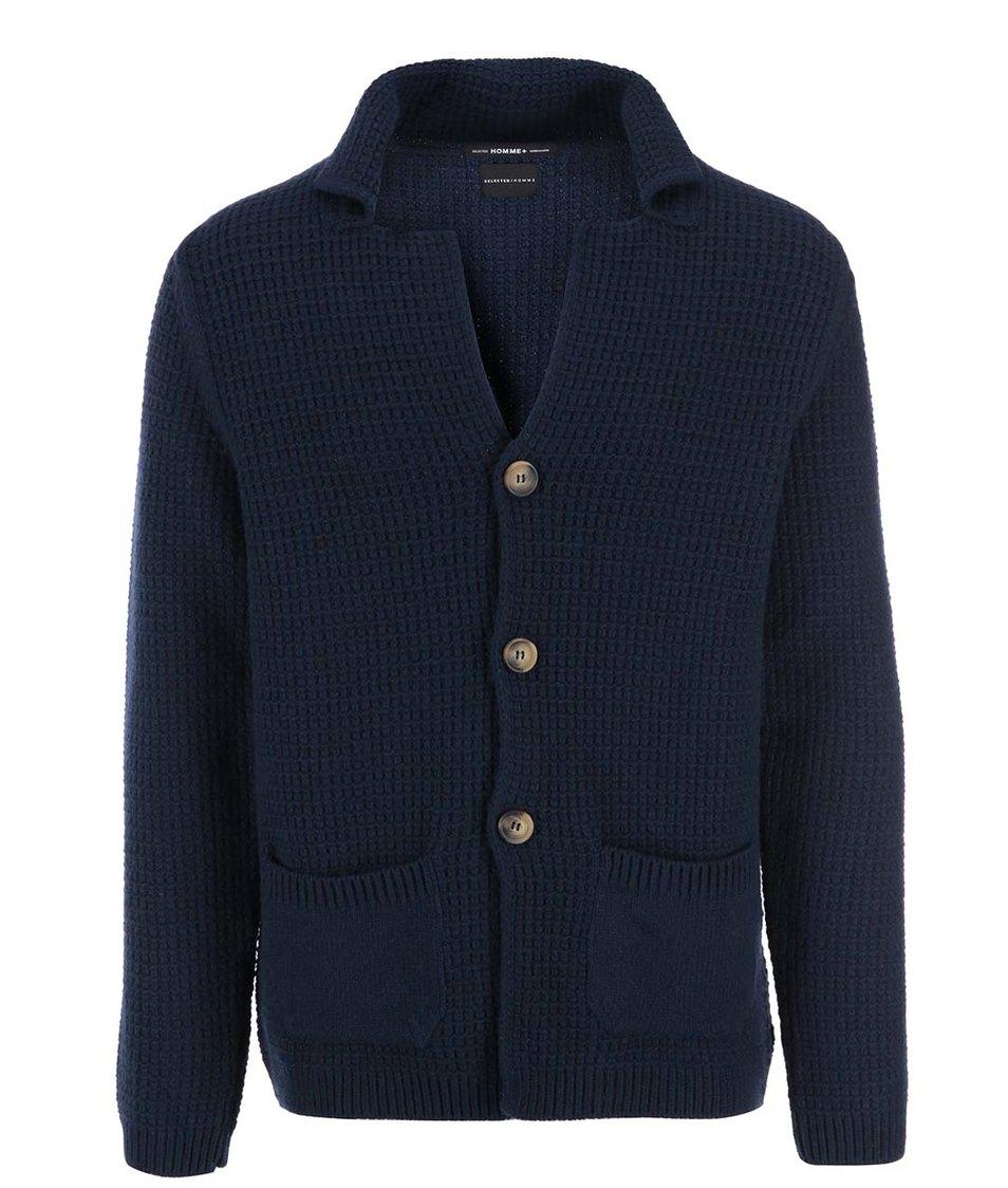 Tmavě modrý svetr na knoflíky Selected Firenze