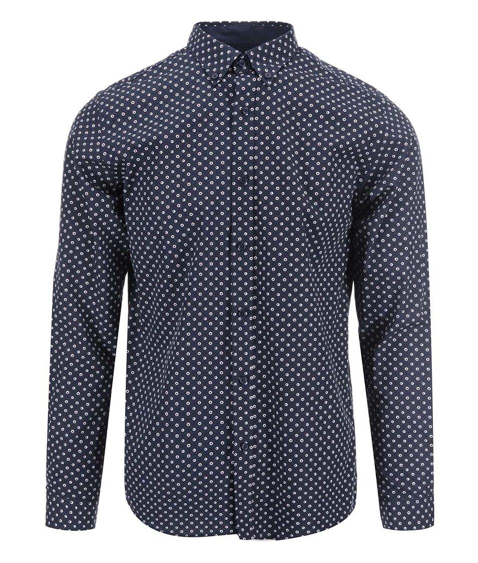 Tmavě modrá vzorovaná košile Selected Code