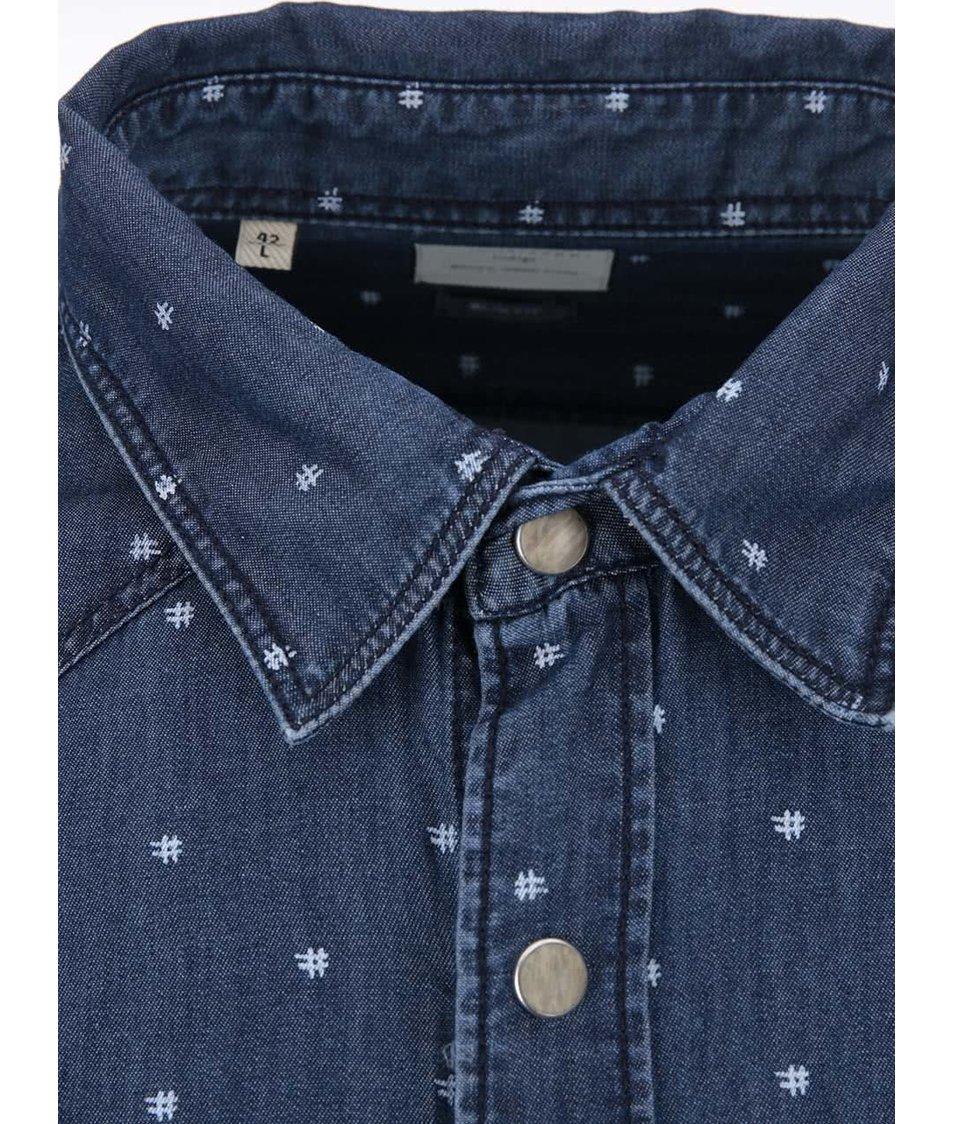 Tmavě modrá džínová košile s bílými křížky Selected Noise