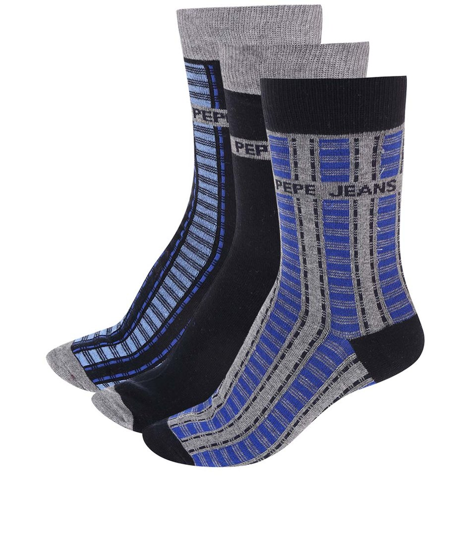 Sada tří párů šedo-modrých ponožek Pepe Jeans Amos