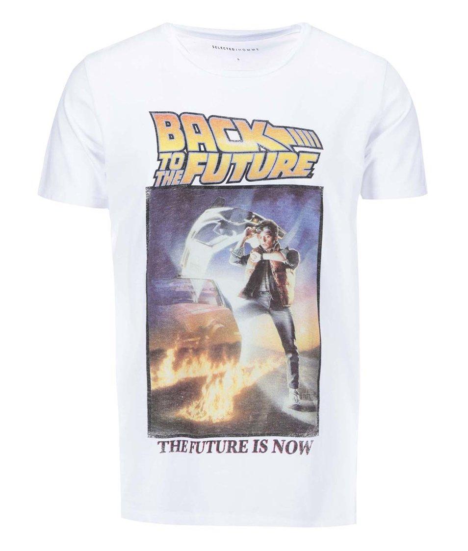 Bílé triko s potiskem Selected BTTF