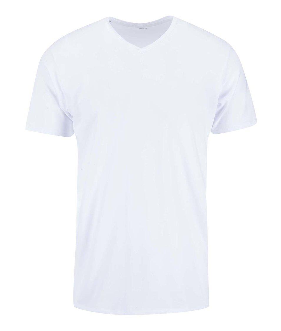 Bílé triko s véčkovým výstřihem Selected Pima