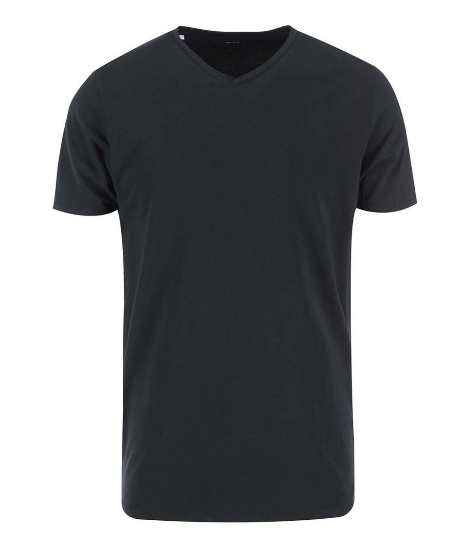 Černé triko s véčkovým výstřihem Selected Pima