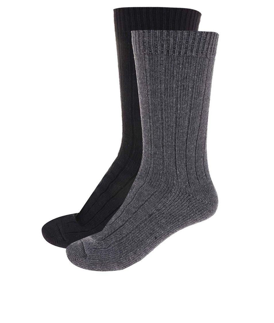 Balení dvou párů černých a šedých ponožek Selected North