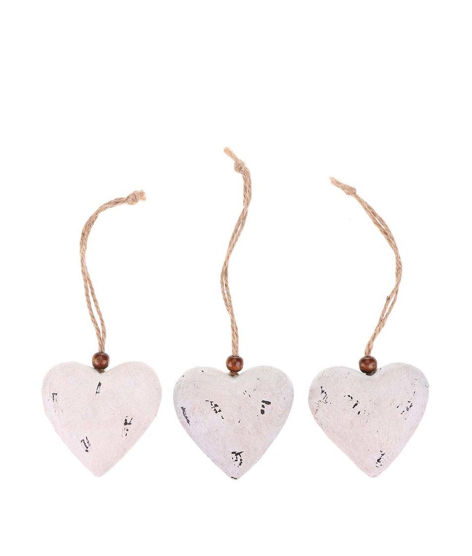 Sada tří bílých vintage srdcí ze dřeva Dakls