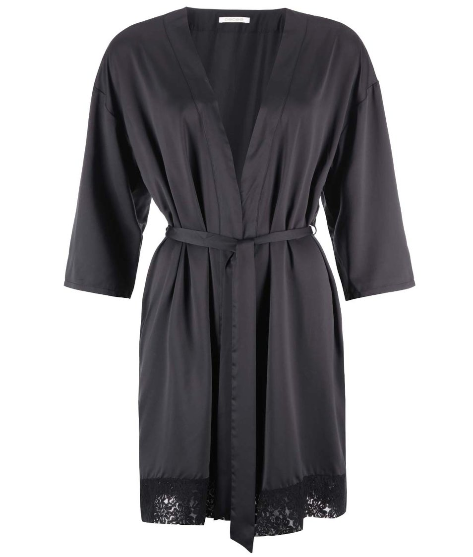 Černé kimono s krajkou Pieces Valentina