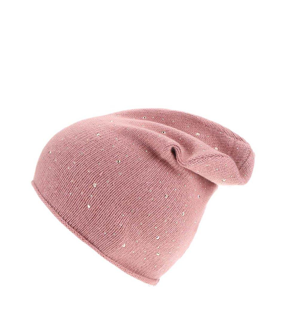 Starorůžová čepice s kamínky Pieces Vunder