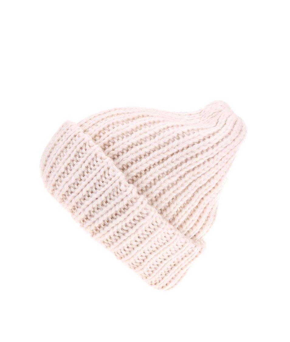 Krémová pletená čepice Pieces Vakky