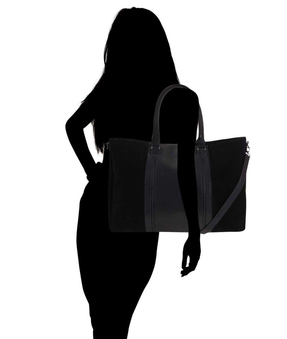 Černá velká kabelka Pieces Velia