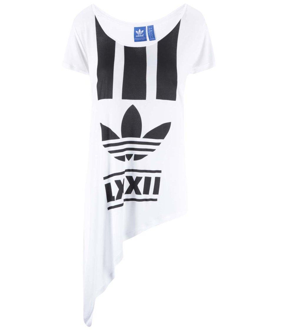 Bílé dámské asymetricky střižené triko adidas Originals Edgy