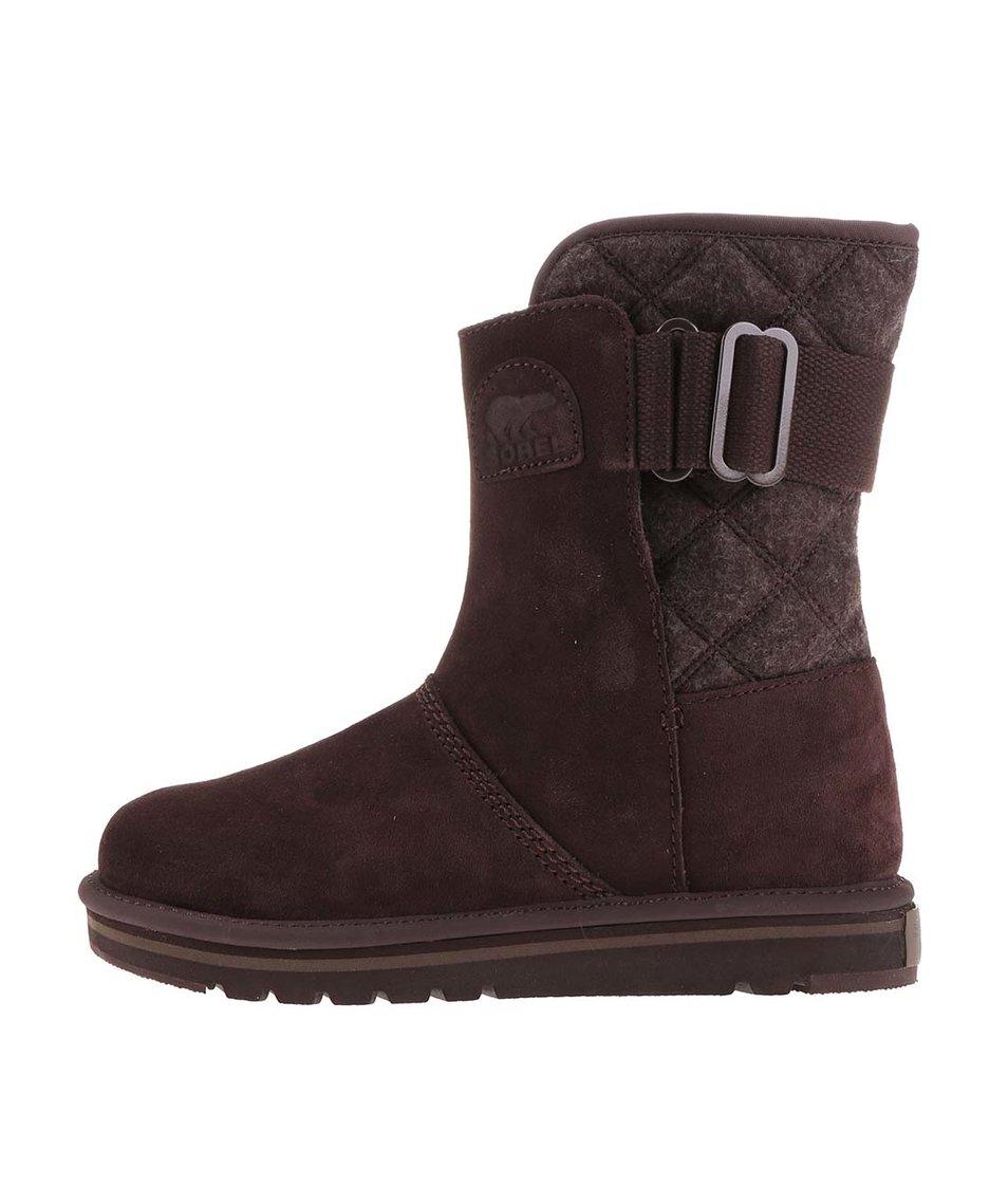 Hnědé kožené voděodolné zimní boty SOREL The Campus