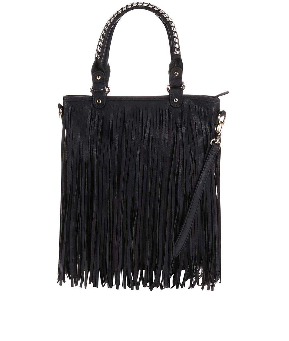 Černá kabelka s třásněmi Gessy