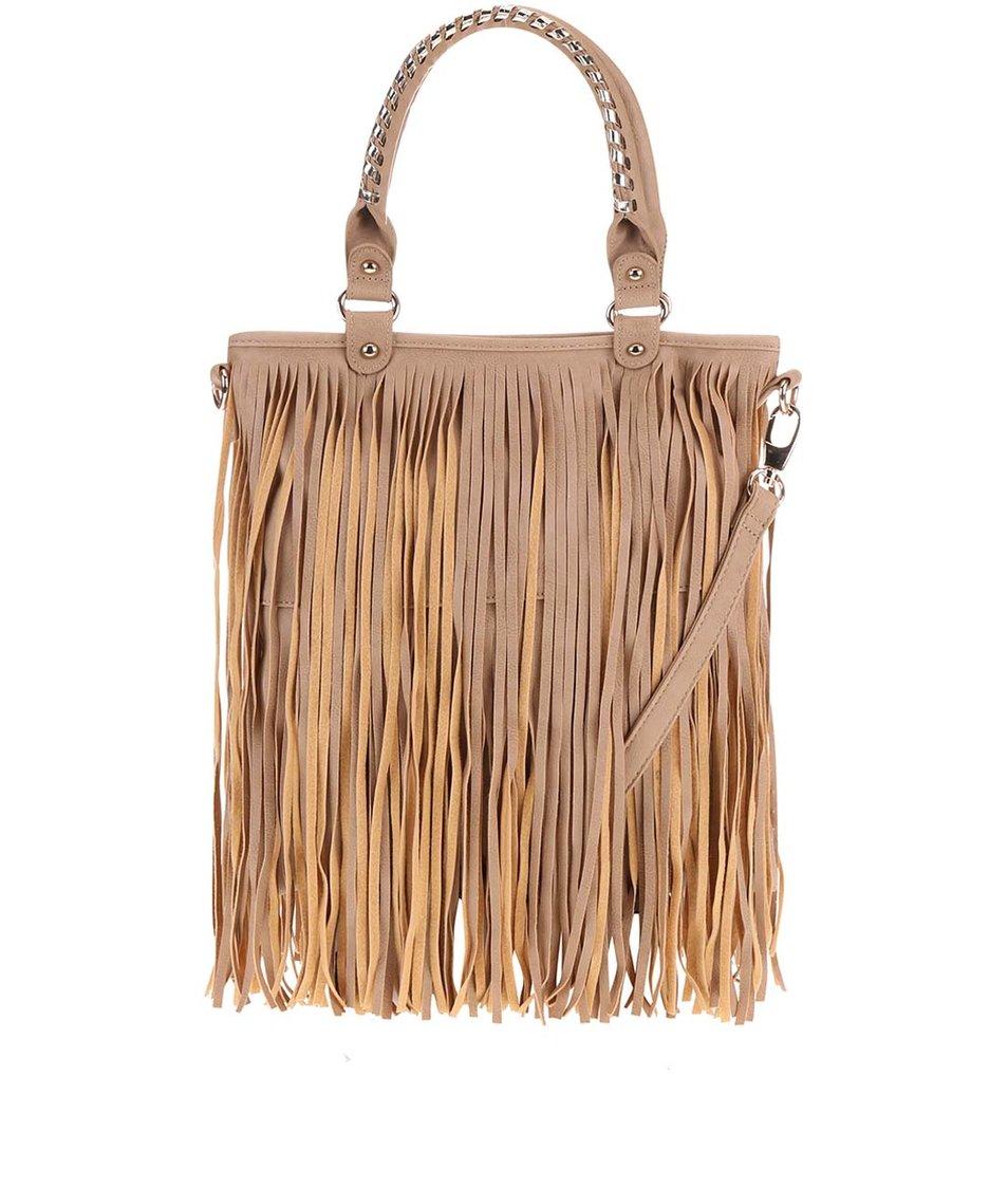 Béžová kabelka s třásněmi Gessy