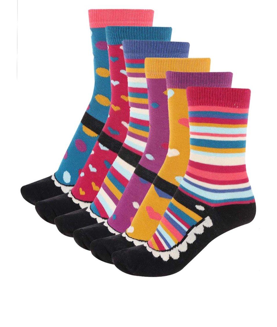 Sada šesti barevných dámských ponožek Oddsocks