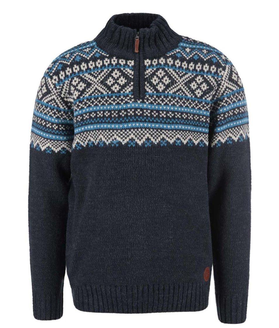 Tmavě modrý vzorovaný svetr se zipem Blend