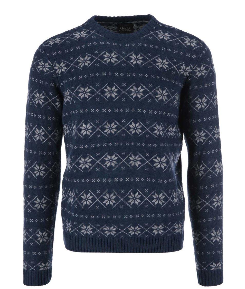 Tmavě modrý svetr s norským vzorem Blend