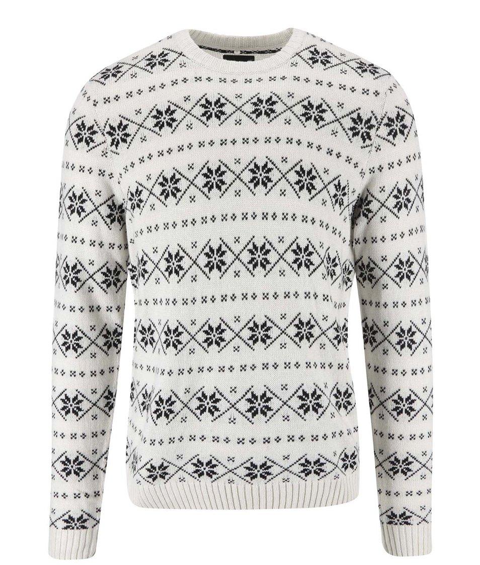 Černo-krémový svetr s norským vzorem Blend