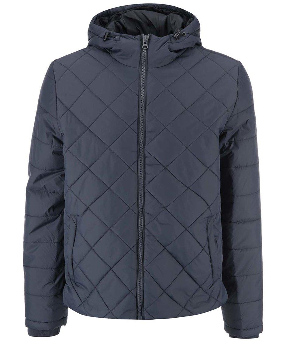 Modrošedá prošívaná bunda s kapucí Blend