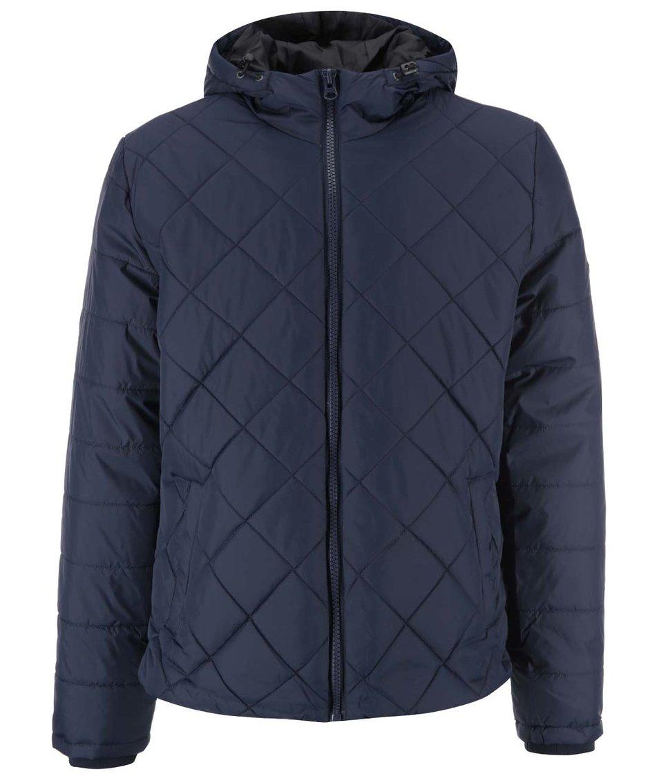 Tmavě modrá prošívaná bunda s kapucí Blend