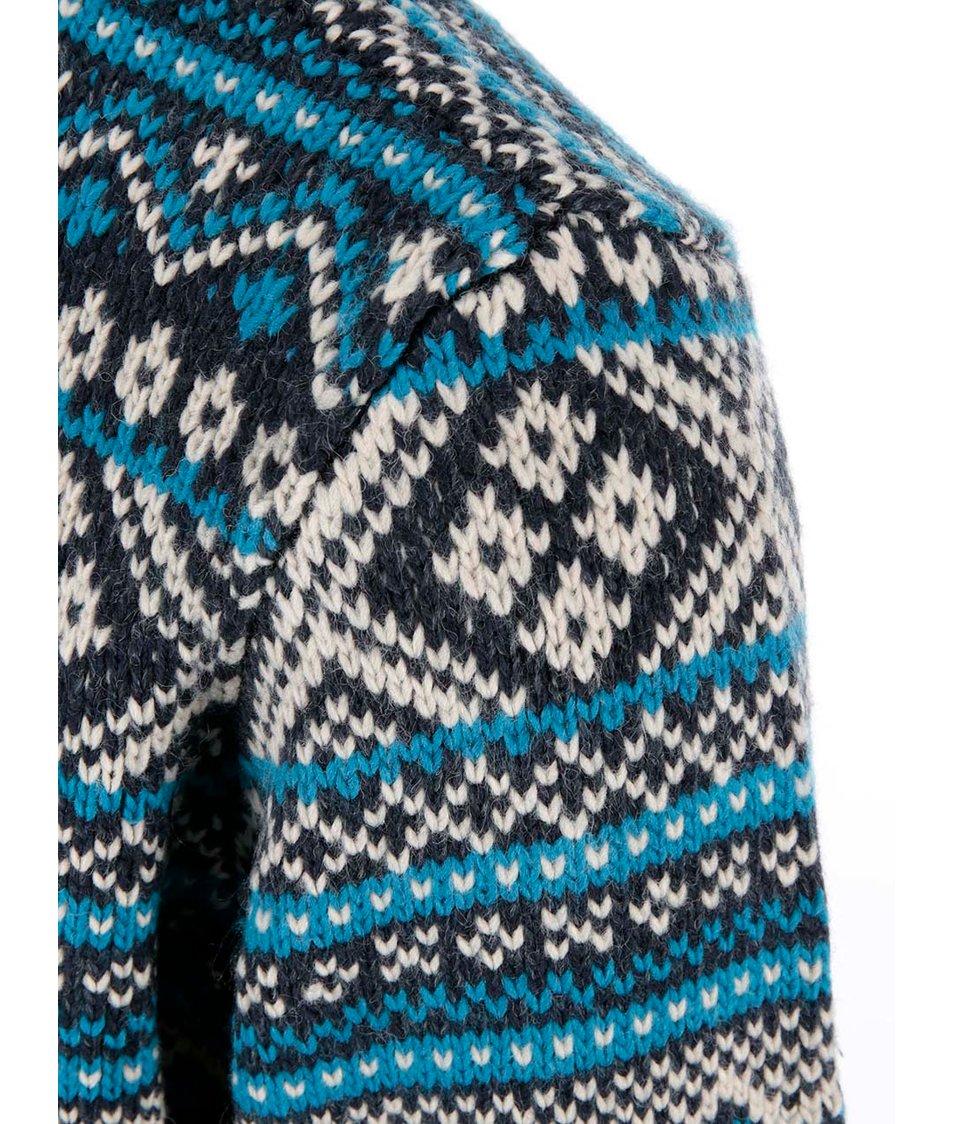 Tmavě modrý vzorovaný svetr se zipem Blend Slim