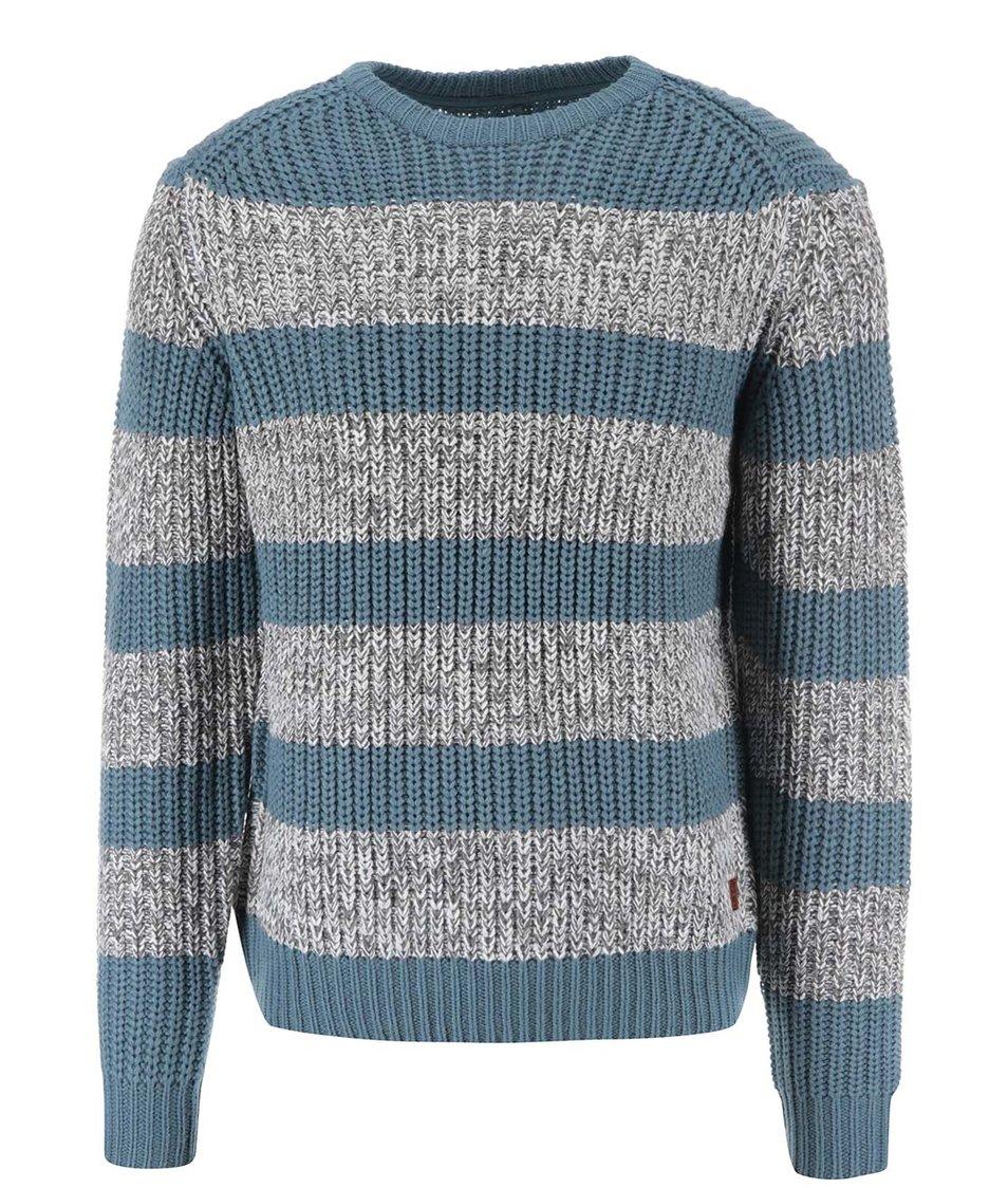 Šedo-modrý pruhovaný svetr Blend