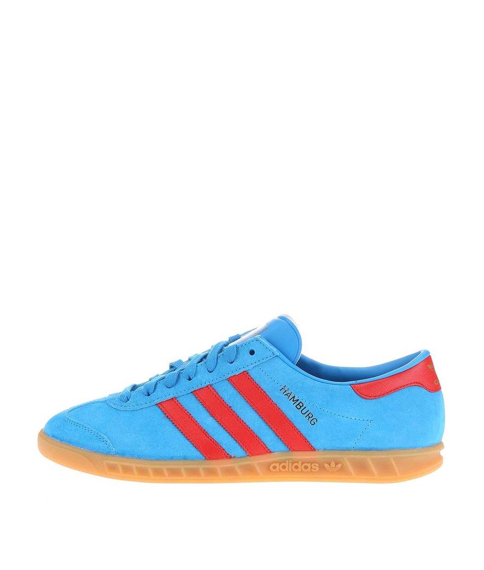 Světle modré pánské kožené tenisky adidas Originals Hamburg