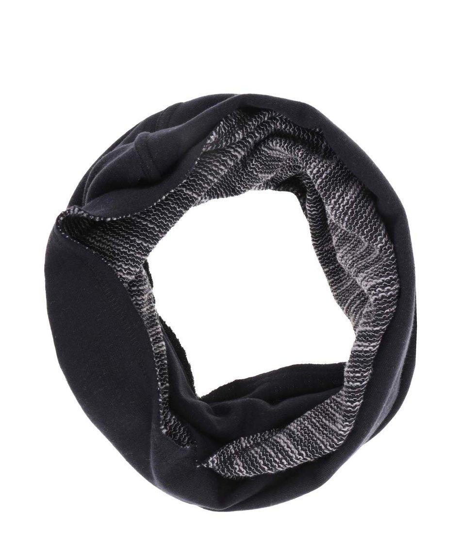 Černá oboustranná dutá šála Blend