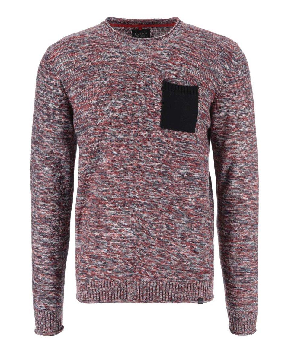 Červený žíhaný svetr s kapsou Blend