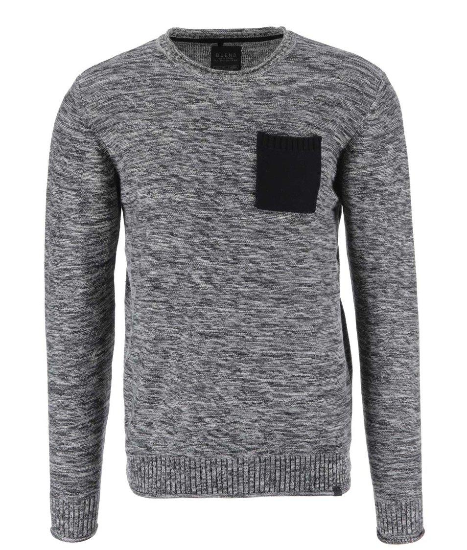Šedý žíhaný svetr s kapsou Blend