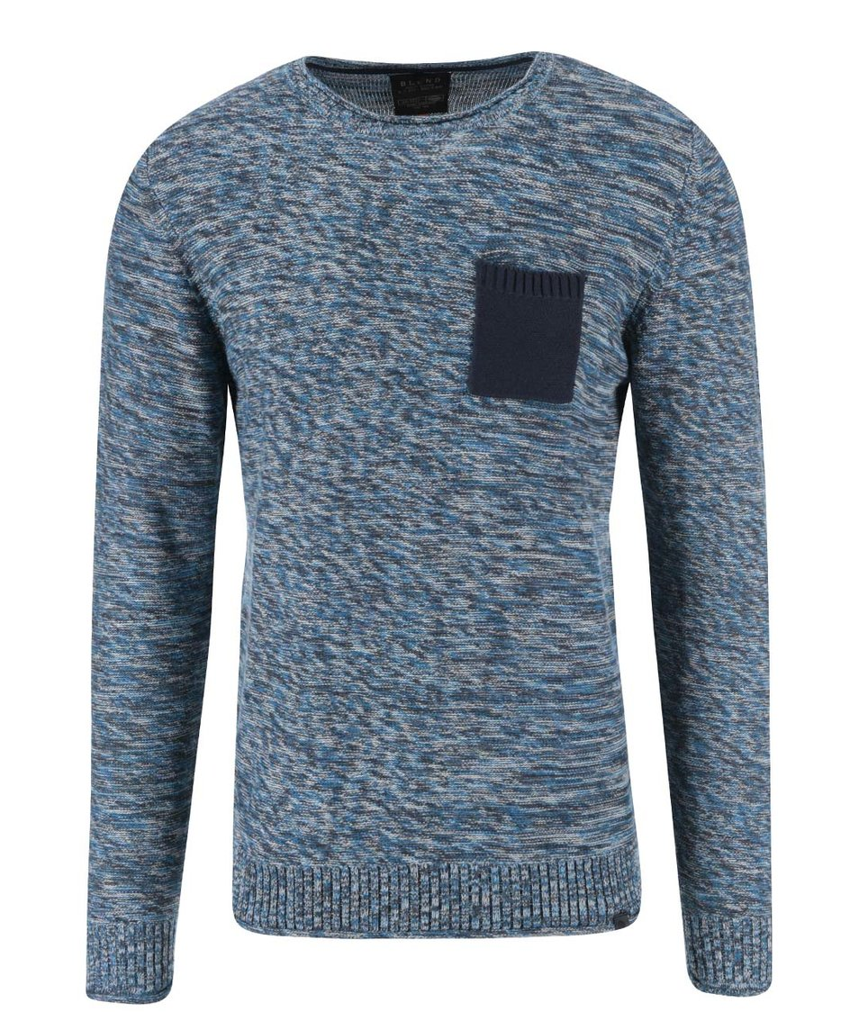 Modrý žíhaný svetr s kapsou Blend