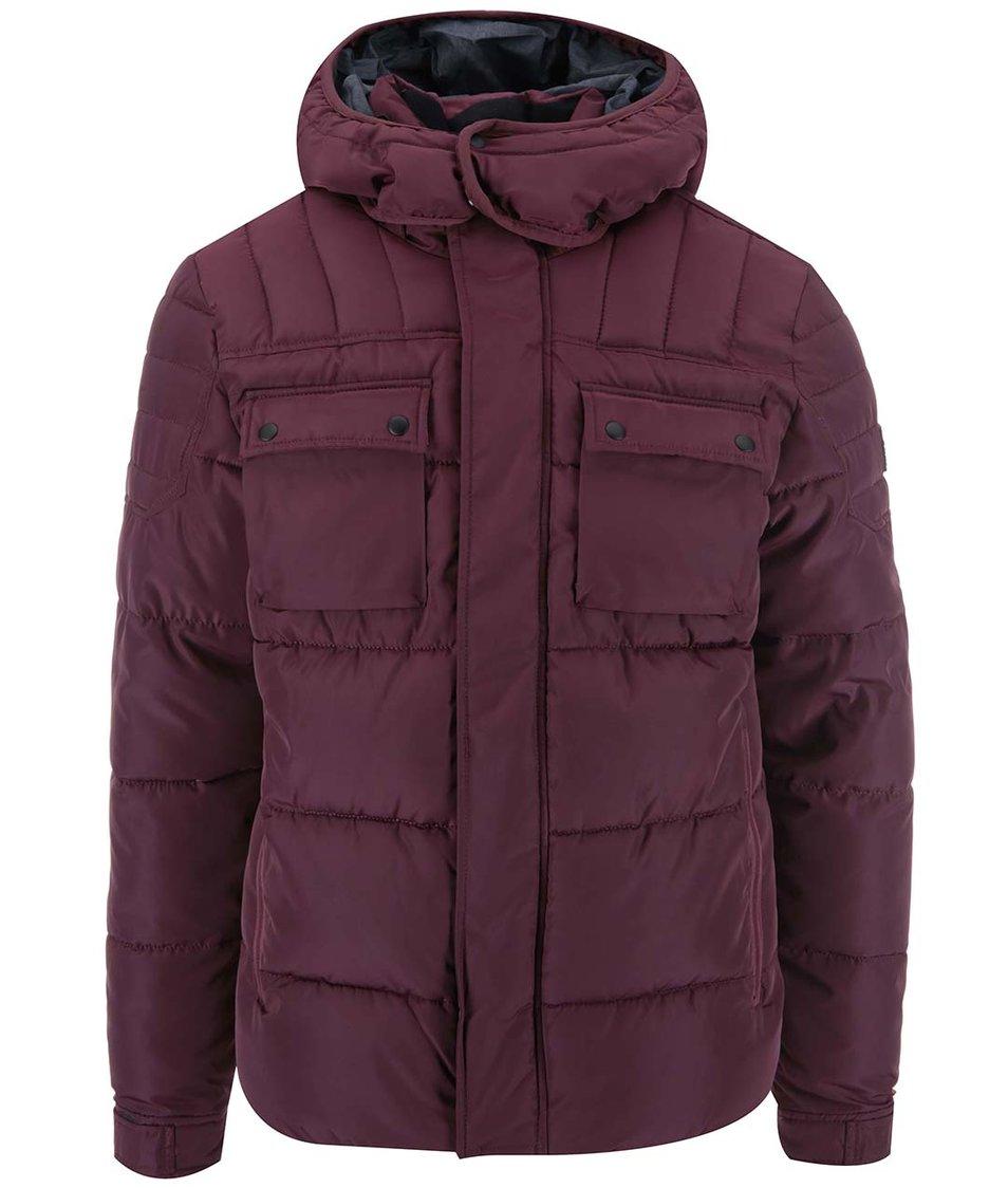 Vínová prošívaná zimní bunda s kapsami Jack & Jones Gary